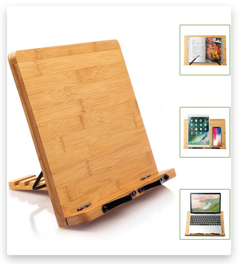 Pipishell Bamboo Book Stand Cookbook Holder