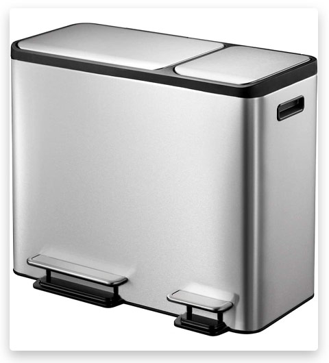 EKO Dual Stainless Steel Recycle Step Trash Can